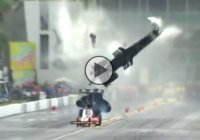 Larry Dixon's dragster snaps in half and goes airborne at a NHRA race!