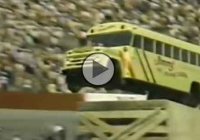School bus flew over 20 motorcycles at a Nascar race in 1980, because why not?
