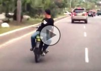 Crazy Rider Drives His Motorcycle Backwards With No Hands…He Got Hit By Karma!!