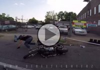 Harley Davidson Rider Crashes And Destroys A Traffic Light Pole!