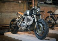 Turbocharged Cafe Racer Based On A Honda VT500 By Strange Coast Moto!