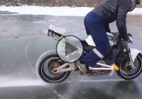 Motorcycle Burnout On Ice..Is That Even Possible?