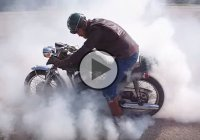 Vintage Bike Burnout By A Beautiful 1970 Suzuki T350 Cafe Racer!