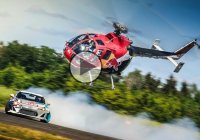 Taking drifting to another level: Bolkov BO105 Aerobatic Helicopter vs. Toyota Drifting race car together in the most insane chase ever!