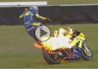 British Superbike star Taylor Mackenzie escapes his flaming bike like a boss!