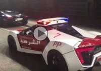 Flame-throwing Lambo Ventador pulled over by Lykan Hypersport Police- Only in Dubai!!!