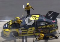 Brad Keselowski hitting two of his crew members at the pit stop!