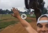 A fool wants to take selfie with a motocross bike, but things went wrong!