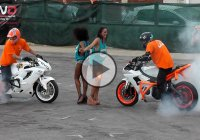 Amazing Bike Stunts, Burnouts, Drifts & Wheelies Performed With A Yamaha R6 And Honda CBR!!