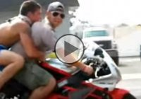 Idiotic Wheelie Fail With Two Guys On The Bike!