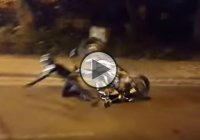 Ridiculous Motorcycle Stoppie Fail – Faceplant In The Street!!