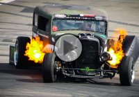 Epic drifting with the Flame-thrower Rat Rod!