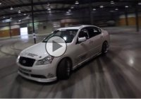 Forsberg is blasting through a brand new warehouse with an Infiniti M!