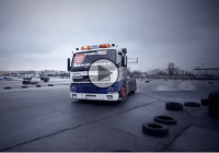 Huge VOLVO FM12 truck power sliding like a maniac!