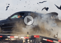 That moment when a Mustang goes bang:  tire explosion at 150 mph on a dyno run!