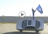 Amazing Hyundai Stunts! U- Turns, J-turns, Changing Tires while 2-wheel drive and more!