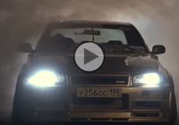 A hell of a looker: The wide Nissan Skyline R34 Sedan in a wicked action!