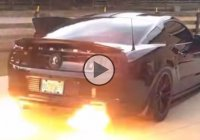This flame-throwing Shelby GT 500 is like a black dragon breathing fire through his nostrils!