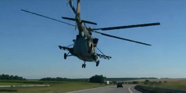 MI 17 helicopter flying