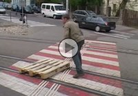 Tomáš Moravec is the inventor behind the wooden pallet on wheels and he rides it every day!!