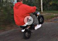 Honda Monkey Bike Wheelie Fail – This Big Guy Slams Hard!!