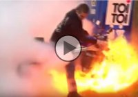 Hilarious Fail – How Not To Put Out Fire Off A Bike!!