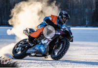 Rally car, Snowmobile, and a Street bike in an epic drift battle ON ICE!