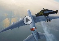 Jetman flying near Airbus A380 – Who says humans can't fly!!!