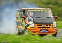BMW M5 V8-powered Ford Transit van burning rubber!
