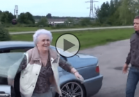 Daredevil old lady steals a BMW M3 and does epic donuts and drifts!