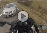 Motorcycle Rider Flies Off 40ft Off A Ditch To Avoid Head On Crash!