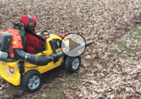 The perfect solution – Kid's power wheel strapped up with a leaf blower!