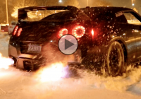 Flame throwing Nissan GTR is having fun in the snow!!!