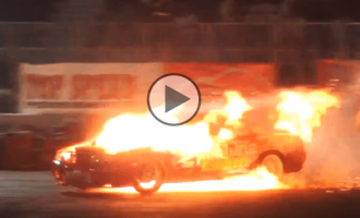 Tuned Nissan Skyline catches fire while drifting insanely!