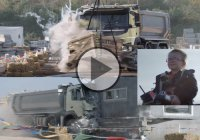 4 year old girl controlling a full-size Volvo truck through tough terrain, but…