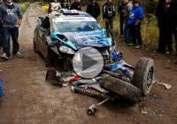 Ken Block crashes his ride at the England Forest Rally!