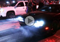 Loud Dodge Hellcat gets smoked by a GMC Truck