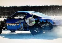 Nitemare II 65′ Mustang, the fastest 1/8 mile on ice @2016 Merrill Ice Drags!