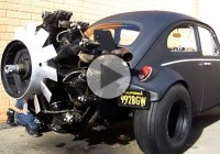 Radial engined VW Bug is smoking all the way!