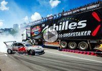 Chris Forsberg drifts under a semi-truck at Drift Shifters!!!