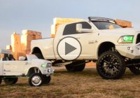 Dodge RAM dually with its kiddie version! Parenting goals indeed!