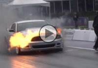 Ford Mustang bursts into flames at the drag strip!