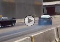 Nissan GTR vs Dodge Dart street race and crash!