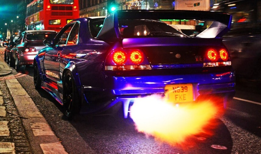 Nissan Skyline GTR shooting flames on the streets of London
