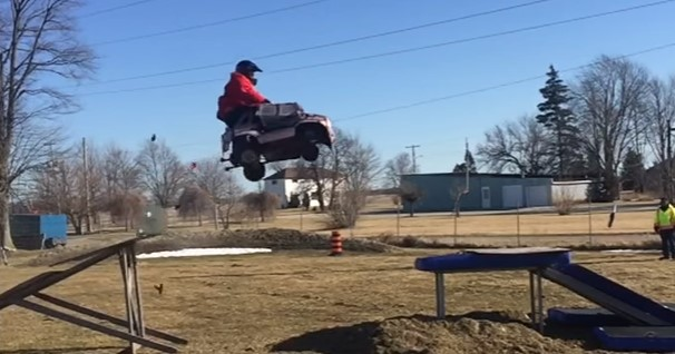 Crazy stunt: Powerwheels car jump!