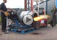 Close Call On A Jet Engine Demonstration –  It Almost Flew Away!