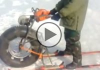 Chainsaw-Powered Ski Bike Tears Across a Lake!
