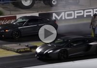Ford Mustang vs Lamborghini Aventador at the 1/4 mile!