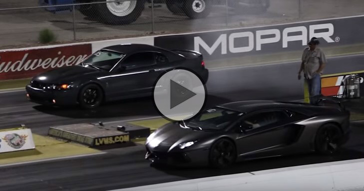 ford mustang vs lamborghini aventador at the 14 mile