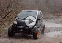 Off road Smart Fortwo going through mud and water!